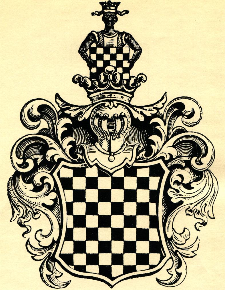 Польский герб 'Вчеле', относящийся ко времени правления короля Болеслава Кривоустого (XII в.). В его рисунке - две шахматные доски, а его генеалогия начинается с истории, связанной с игрой в шахматы