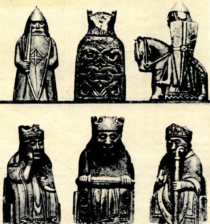 Скандинавские шахматные фигуры XII в., найденные на острове Льюис из Гебридского Архипелага, к северо-западу от Шотландии