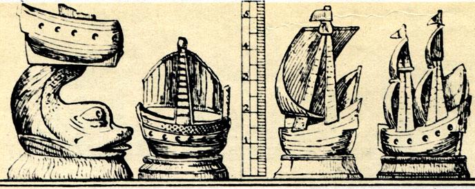 Русские шахматы XVI века: фигуры ладей в виде парусных кораблей