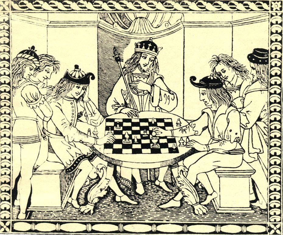 Гравюра-иллюстрация к итальянскому трактату о шахматной игре (1493 год)
