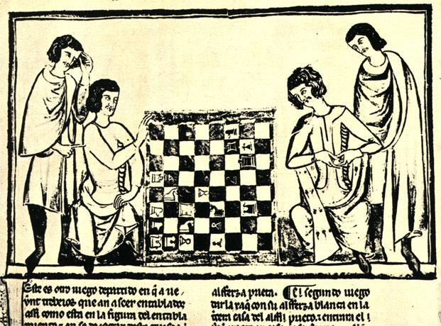 Миниатюра с диаграммой шахматной задачи и фрагмент текста рукописи испанского короля Альфонса X Мудрого от 1283 года. Оригинал находится в Библиотеке Эскуриала в Испании