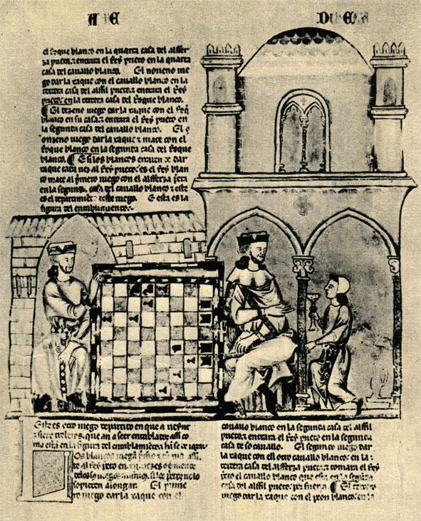 Эффектно иллюстрированная страница рукописи трактата об играх Альфонса X Мудрого с рисунком конкретной шахматной задачи (XIIIв.)