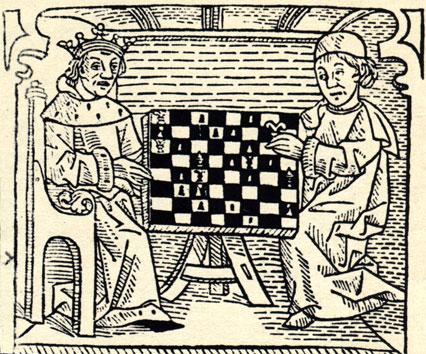 Две гравюры из книги о шахматах Кекстона (1474 год), являющейся одним из самых старых печатных произведений Англии: монах, решающий шахматную задачу (налево), и король с епископом за шахматной доской