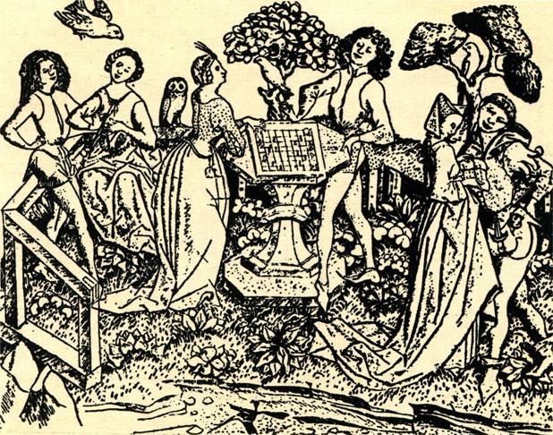 Пара, играющая в шахматы в саду. Немецкий офорт XV в.; работа гравёра Э.С