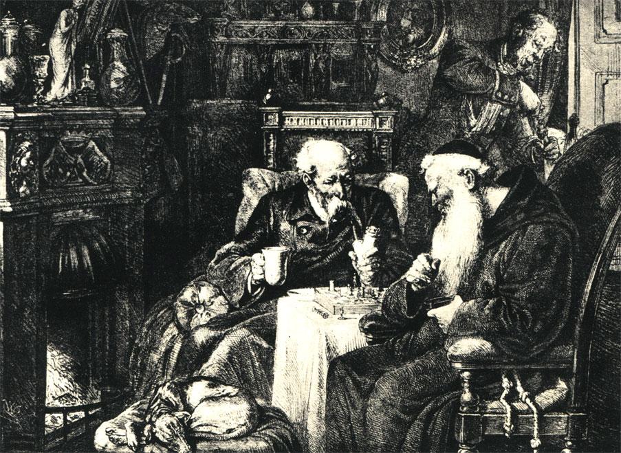 Партия в шахматы в старинной польской усадьбе. Рисунок польского художника Крюгера, 1872 г.