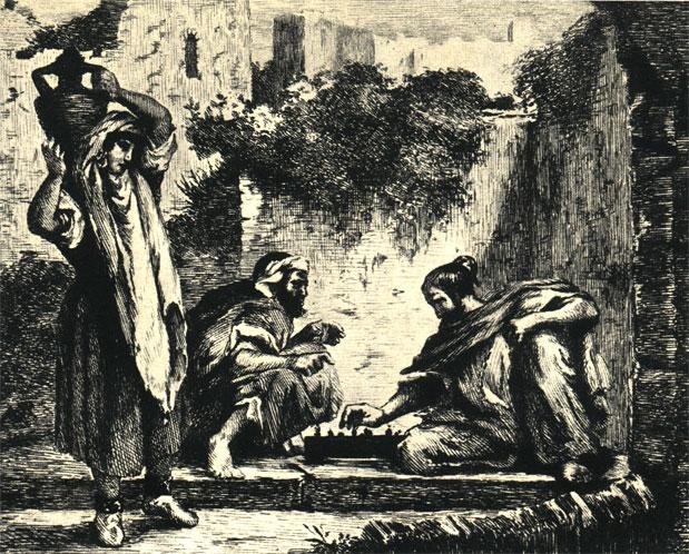 Игроки в шахматы. Французский эстамп второй половины XIX  в., сделанный по картине Э. Делакруа