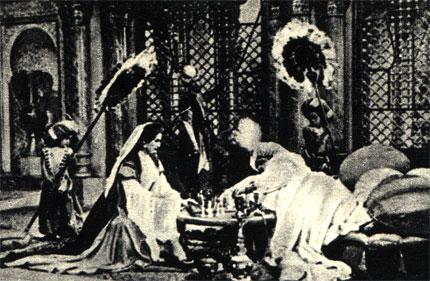 Pacnpостранению шахмат в значительной мере способствовали арабы. Кадр из немецкого фильма 'История маленького Мука' (1954 г., ФРГ)