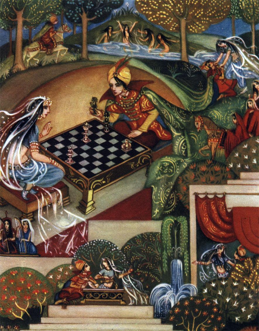 Рис. Янины Петри-Пшибыльской. '...О госпожа, - сказал Шарр-Кан, - кто играет с тобой, не может не быть побежденным...' Иллюстрация к одной из сказок 'Тысячи и одной ночи'