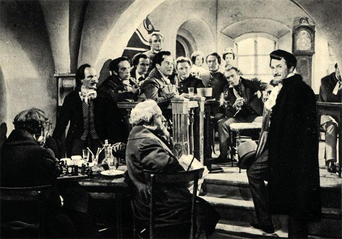 В варшавских кафе было принято играть в шахматы уже в начале прошлого столетия. Сцена из польского фильма 'Юность Шопена' (1952 г.)