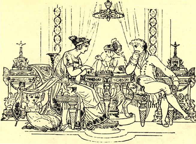 Во французском салоне эпохи Первой Империи. Современный рисунок