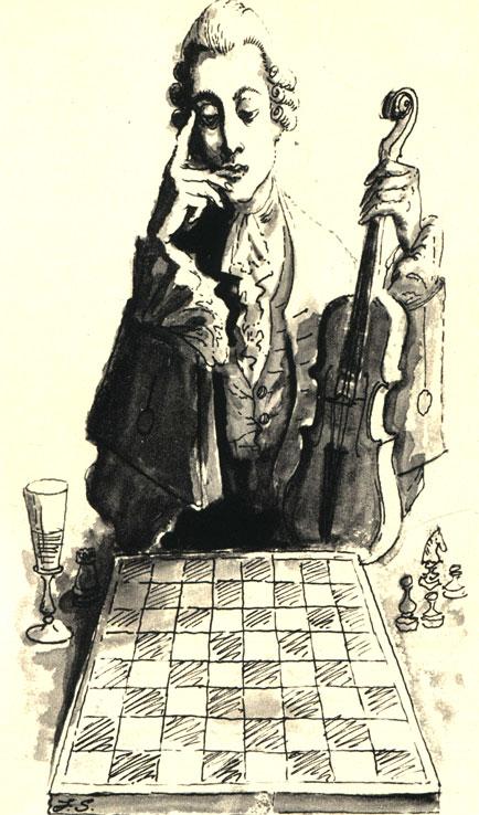 Французский композитор Андре Филидор был выдающимся шахматистом второй половины XVIII века. Его учебник 'Анализ шахматной игры' был издан на разных языках не один десяток раз. (Рис. польского художника Е. Скаржинского)