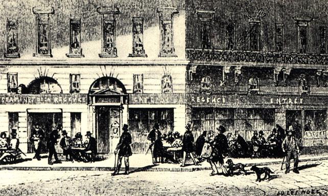 Фронтон знаменитого Кафе де ля Режанс о Париже, которое, начиная с середины XVIII века и в течение всего XIX века служило центром бурной шахматной жизни. Эстамп середины прошлого столетия