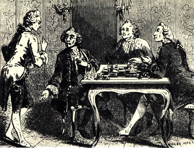 Партия в шахматы в парижском салоне XVIII в. Гравюра середины прошлого столетия, сделанная Ж. Ноэль