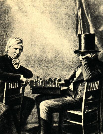 'Шахматисты'. Один из первых дагерротипов, сделанных в Англии. Автор дагерротипа - Фокс Тальбот, 1840 год
