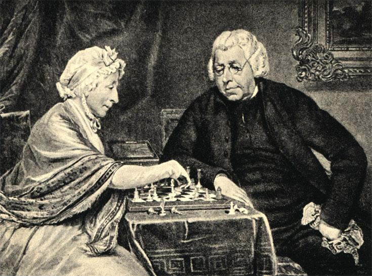 Супруги Берри играют в шахматы. Картина неизвестного английского художника XIX века