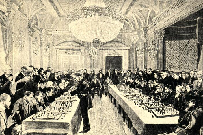 Гроссмейстер Розенталь проводит в 1891 г. в Париже сеанс одновременной игры на 30 досках. Рисунок с натуры Л. Тинайрэ