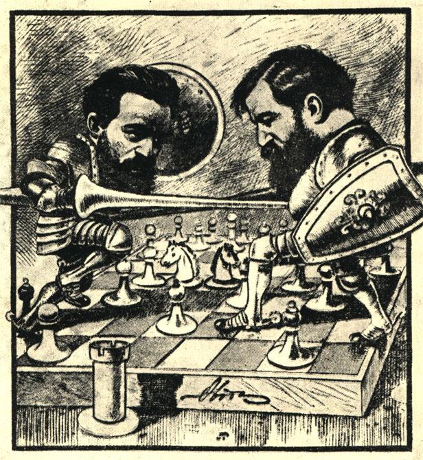 Стейниц защищает звание чемпиона мира в знаменитом поединке с Чигориным в 1892 году. Современная русская карикатура