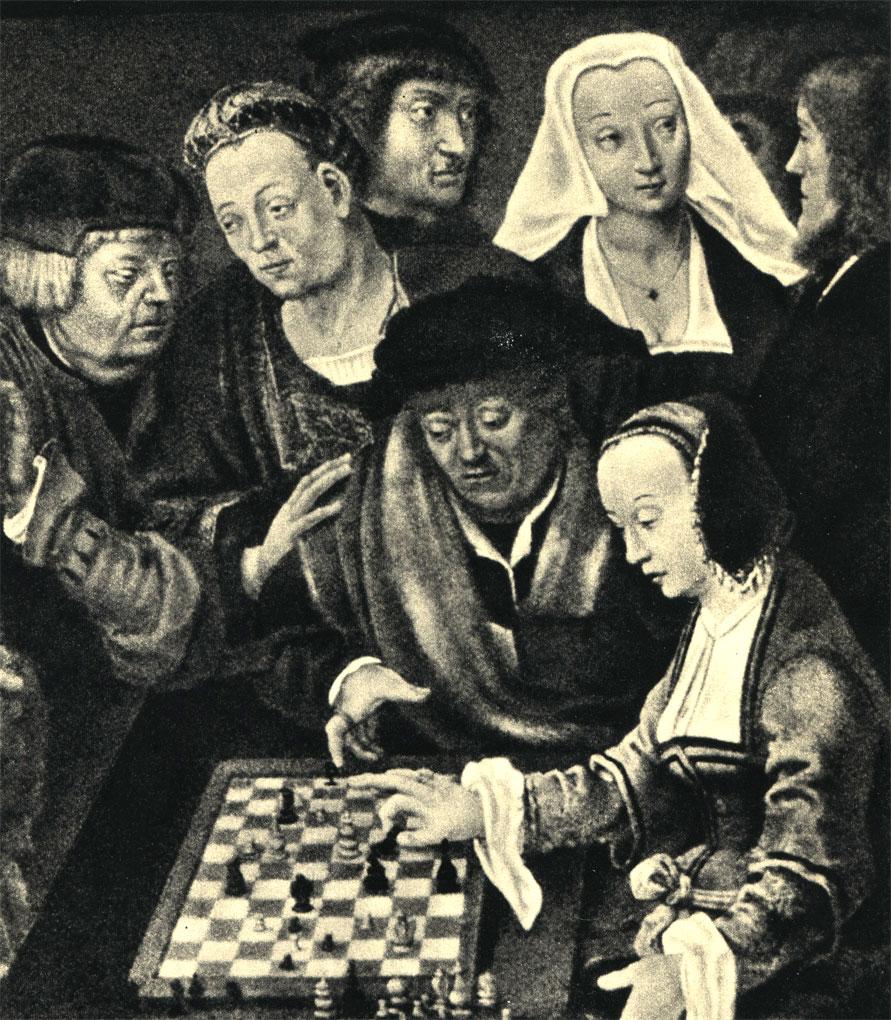 Лука Лейденский (1520 г.) 'Игра в шахматы' (фрагмент). На доске размером 12x8 играют в так называемую 'курьерскую игру' (разновидность шахмат), которая была распространена в XIV-XVI вв. в Нидерландах, Франции и Германии (Национальная галерея в Берлине)