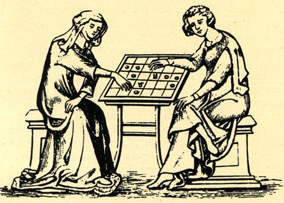 Женщина и юноша сидят за настольной игрой. Миниатюра начала XIV в. из собрания Британского музея в Лондоне