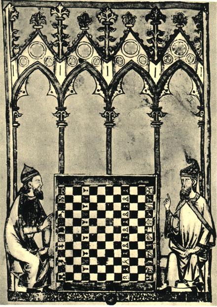 Доска 'больших шахмат' состояла из 144 клеток, все фигуры, кроме короля, представляли собой изображение экзотических животных. Миниатюра 1283 г. из рукописи Альфонса X Мудрого