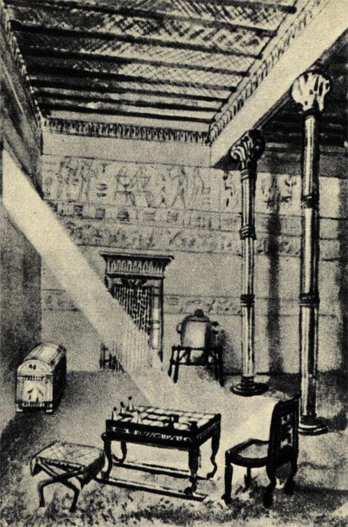 Внутренний вид древнеегипетского дома, на первом плане столик для игры в сенет - разновидность шашек. (Рис. польского худ. С. Сеницкого)