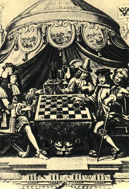 Партия в шашки Людовика XIV. Политическая аллегория, помещенная во французском календаре второй половины XVIII в.