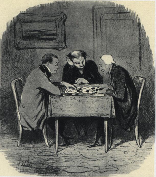 Сатирический рисунок Оноре Домье в парижской газете 'Ле Шаривари' (1847 г.). Подпись гласит: 'Парижане, над которыми никогда не нависнет угроза оказаться под надзором тайной полиции'