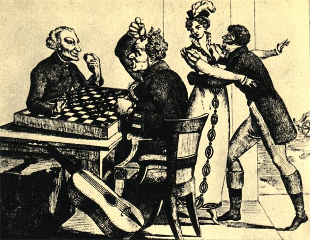 'Дамка пропала!' - сатира на завзятых игроков в шашки. Французская карикатура начала XIX века