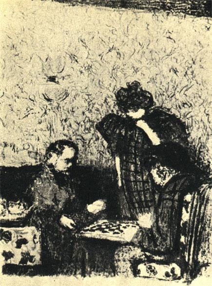 'Игра в шашки'. Литография французского художника-импрессиониста Э. Вийяра