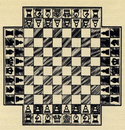 Современный вариант игры в шахматы для 4-х человек напоминает игру в бридж: двое играют против двоих, белые и красные - против черных и голубых