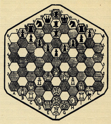 Доска шестиугольных шахмат состоит из 91 клетки белого, черного и бурого цвета. Каждый из играющих имеет в своем распоряжении 18 фигур