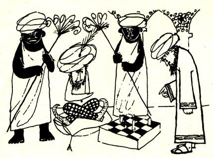 ...и та же тема возникновения шахматной игры в трактовке другого польского художника М. Покоры