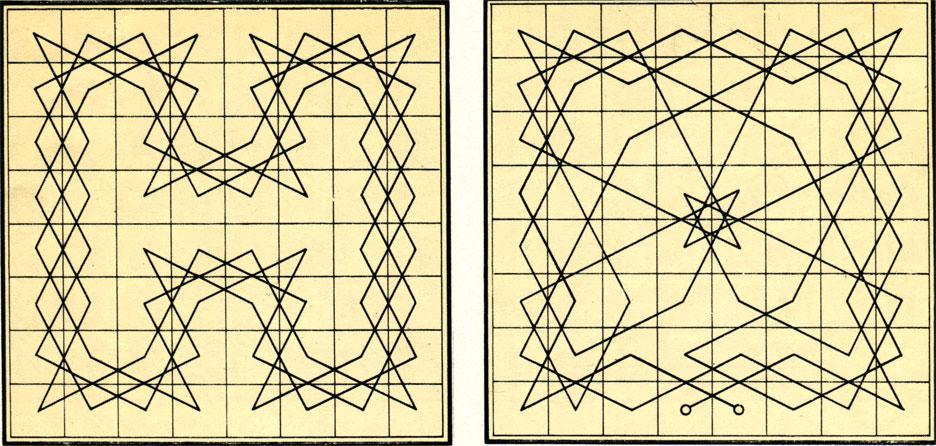 Диаграммы задач для коня, показывающие такой проход коня по всему шахматному полю, при котором он ни разу не становился на одну и ту же клетку дважды