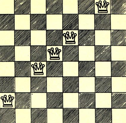 Пять ферзей держат под ударом все клетки шахматного поля. Пример популярной задачи на расстановку шахматных фигур