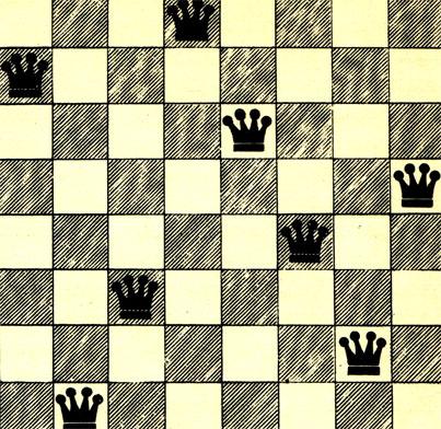 Один из многочисленных способов расстановки на шахматной доске 8 ферзей таким образом, чтобы отдельные фигуры не могли бить друг друга