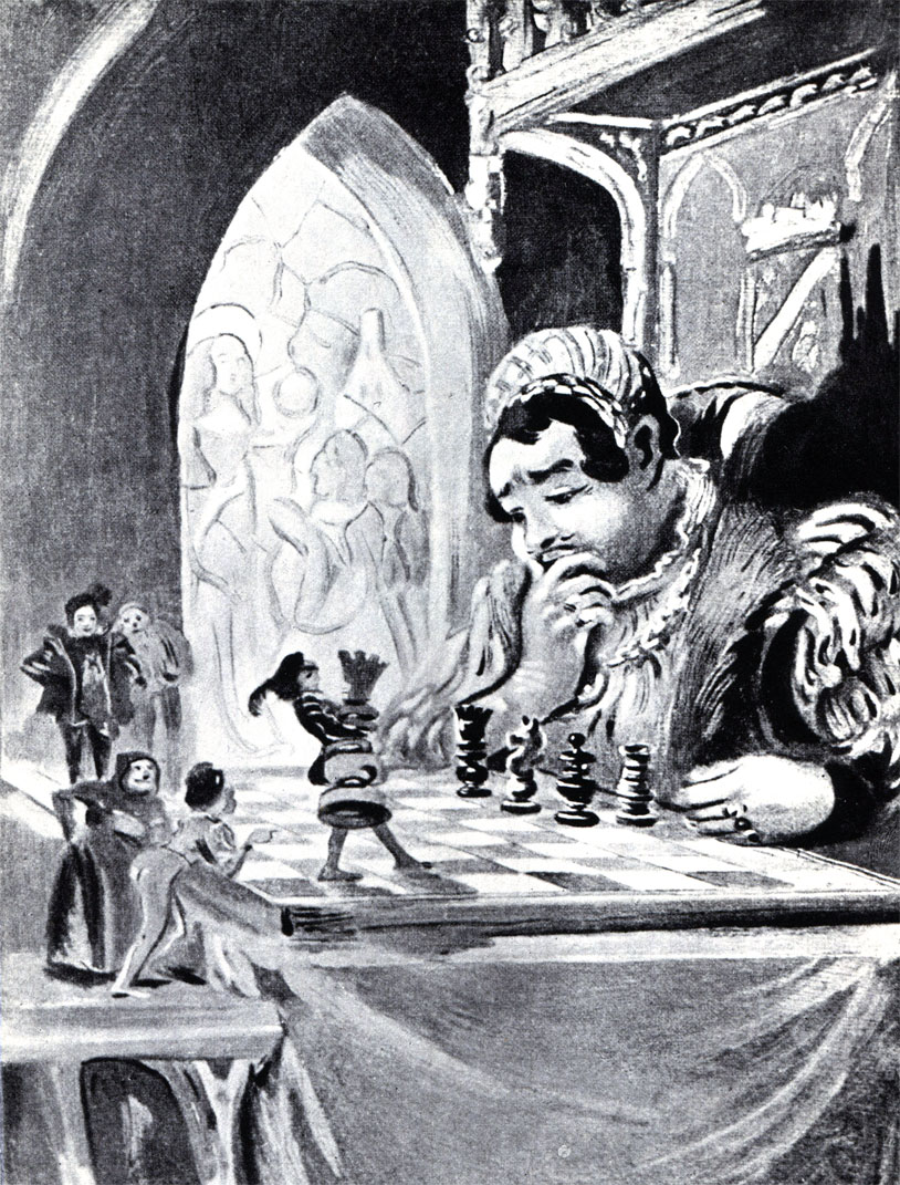 Великан Гаргантюа, герой романа Рабле, учится играть в шахматы. Рис. Л. Морена к одному из парижских изданий 'Гаргантюа и Пантагрюэля'