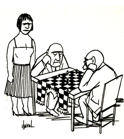 Страсть к шахматам не знает преград. (Рис. Шаваля - 'Зи унд Эр')