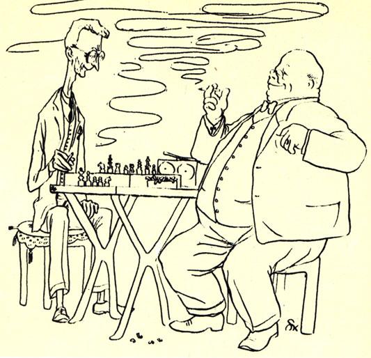 'С тех пор, как шахматы стали считаться спортом, человек сразу начал себя лучше чувствовать'. (Рис. Ш. Кобылинского -  'Шпильки')