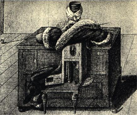Тот же автомат сзади: под ворохом одежд скрывается деревянная конструкция автомата