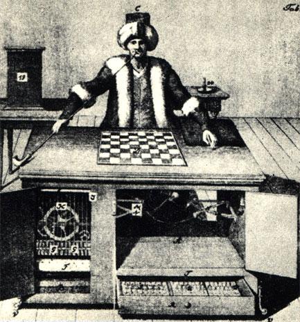 Автомат Кемпелена в рисунках середины прошлого столетия, т.е. уже после раскрытия секрета действия механизма. Впечатление пустоты достигалось системой перегородок и зеркал... (налево) - в то время как в ящике сидел живой человек (направо)