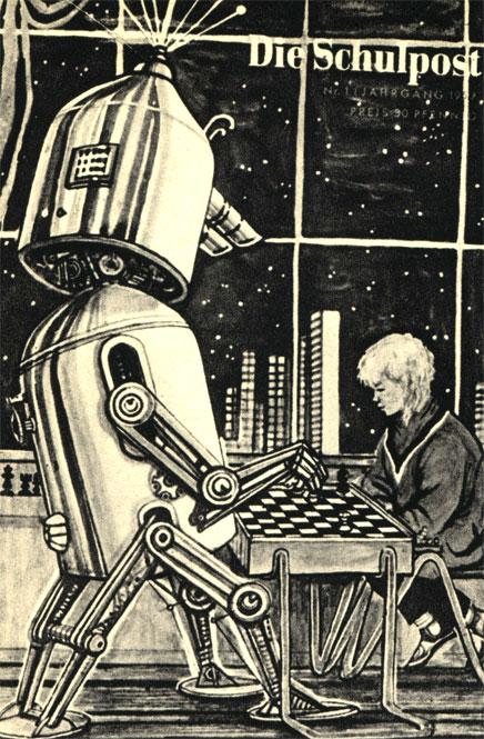 Фантастический рисунок будущего. Обложка немецкого журнала для юношества (1957 год)