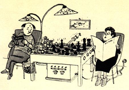 В эпоху домашних шахматных электромашин: 'По инструкции он должен выиграть эту партию не позже семнадцатого хода'. (Рис. X. Паршау - 'Уленшпигель')