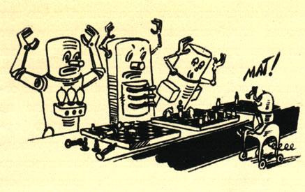 'Чудесное дитя' на полупроводниках выигрывает сеанс одновременной игры с 'ламповыми роботами'. (Рис. В. Кащенко - 'Техника молодежи')