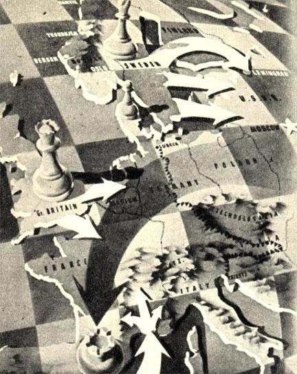 Английский рисунок периода холодной войны (1948 год), изображающий организацию защиты Западной Европы от 'угрозы' с Востока. Подпись гласила: 'На европейской шахматной доске - решающие фигуры'. Скандинавия - слон, Великобритания - ферзь, Пиренеи - ладья. ('Лидер Мэгэзин')