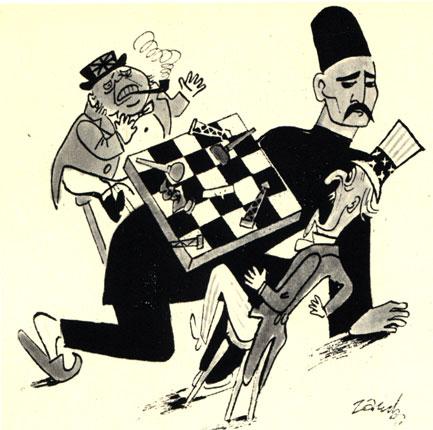 'Не дает нам играть в шахматы' - польская политическая карикатура 1952 г. по поводу свержения иранским народом проамериканского правительства. (Худ. Е. Заруба - 'Шпильки')