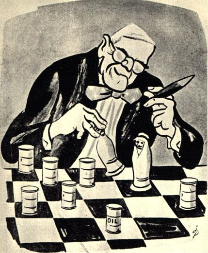 Чехословацкая политическая карикатура 1958 г.: 'Белый (дом) начинает и проигрывает'. Намек на американские происки в арабских странах, связанные с нефтью. (Худ. Поп - 'Дикобраз')