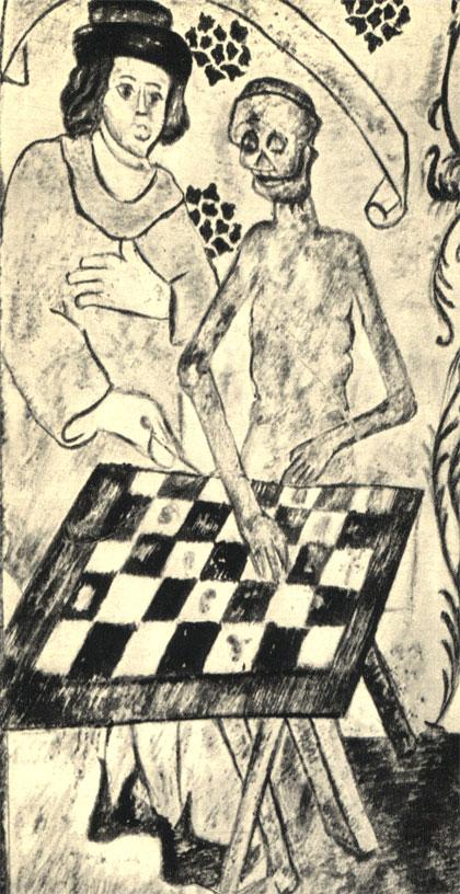 'Игра со Смертью'. Фреска-аллегория храма в Таэби в Швеции работы Альберта Пиктора, вторая половина XV века