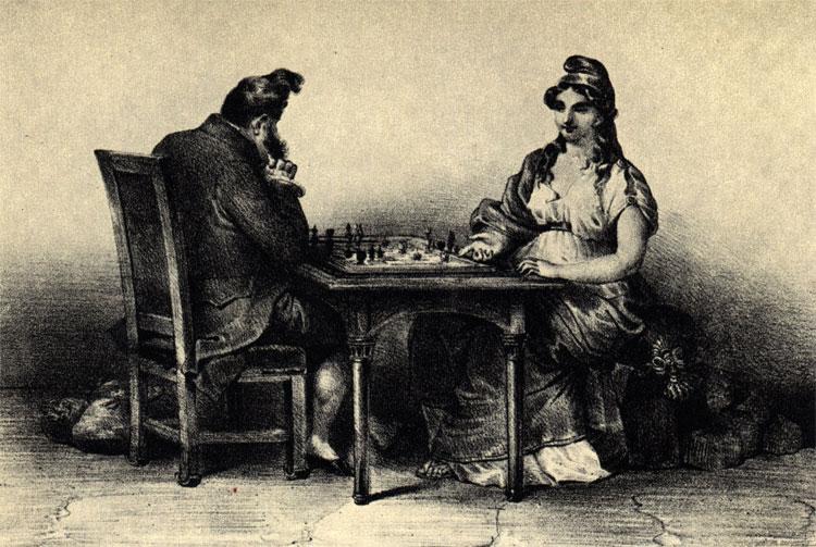 'Когда закончится эта партия?' Луи Филипп играет против Республики. Современная французская сатира. (Литография Деспере - 'Ля Карикатюр')