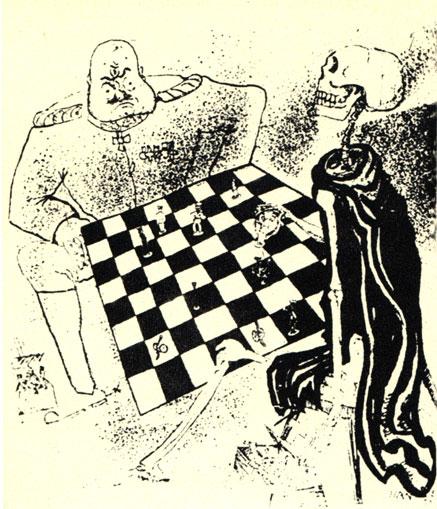 Милитарист продолжает игру, хотя король (читай: кайзер) получил мат в партии 1914-1918 года. Немецкий сатирический рисунок 1924 года ('Ляхэн Линкс')