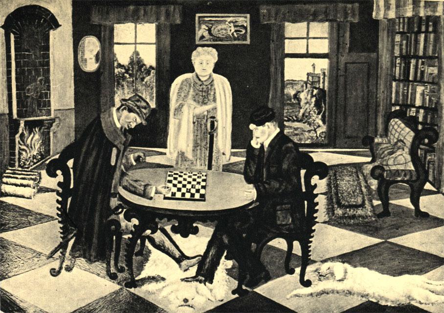 'Игра в шахматы'. Картина польского художника-примитивиста Тэофила Оцепки (1946 г.)